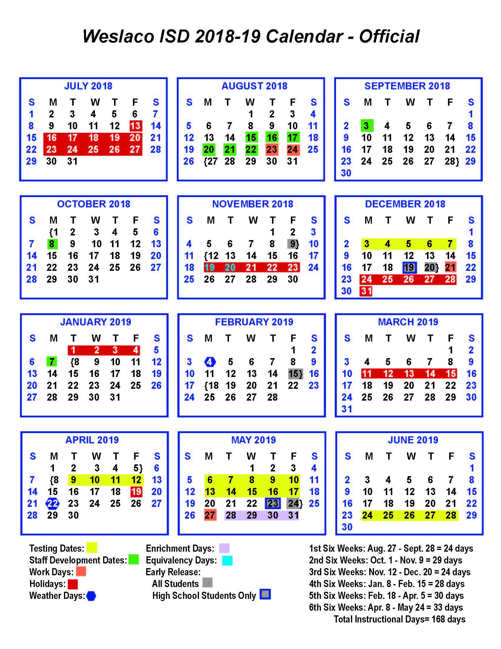 Weslaco Isd Calendar 2019 Academic Calendar   Central Middle School